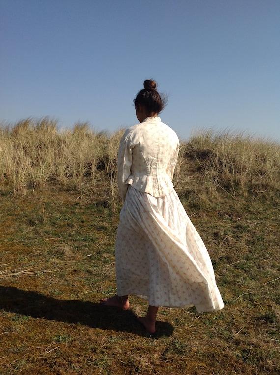 antique victorian cotton print calico day dress 2… - image 8
