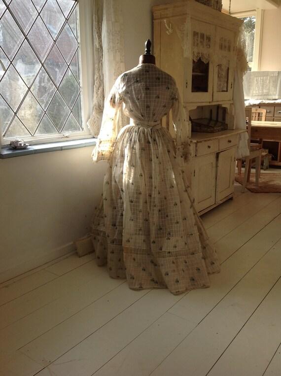 antique cotton print dress, civil war dress 1870s - image 6