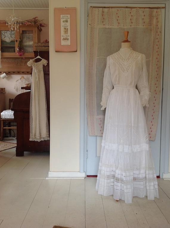 sheer cotton lawn dress, edwardian, 2PC dress