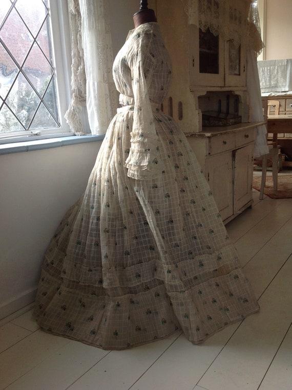 antique cotton print dress, civil war dress 1870s - image 7