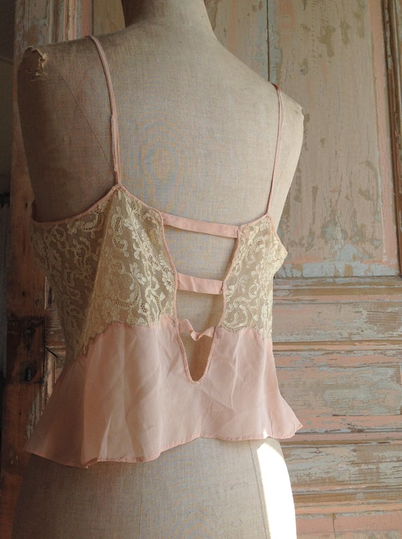 salmon pink and lace camisole edwardian