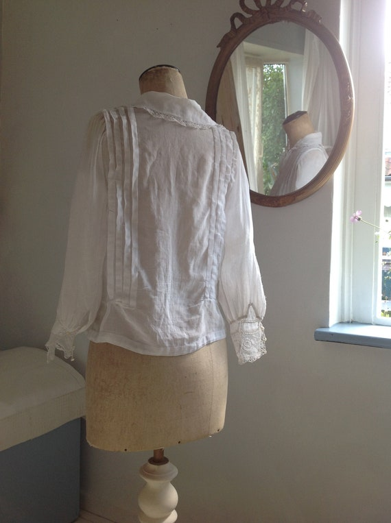 edwardian sheer cotton and lace blouse