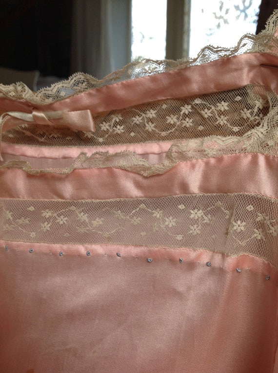 choral pink camisole silk and lace edwardian 1920… - image 9