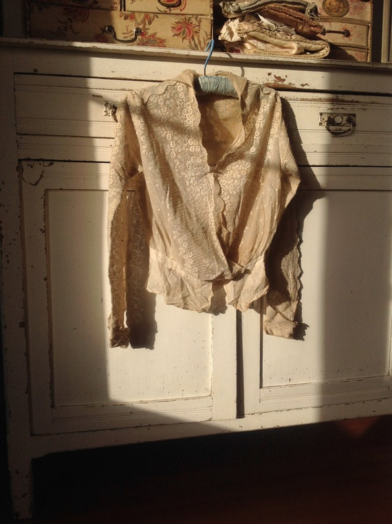 beautiful antique victorian tulle lace blouse 1900