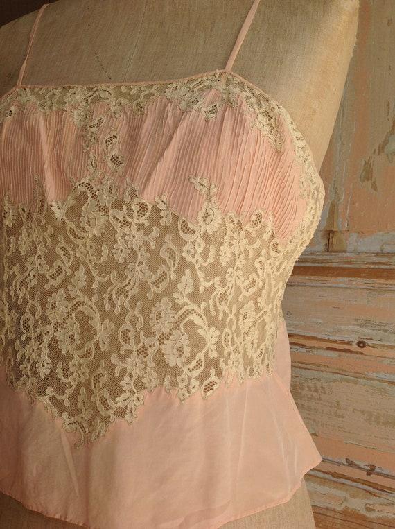 salmon pink and lace camisole edwardian - image 2
