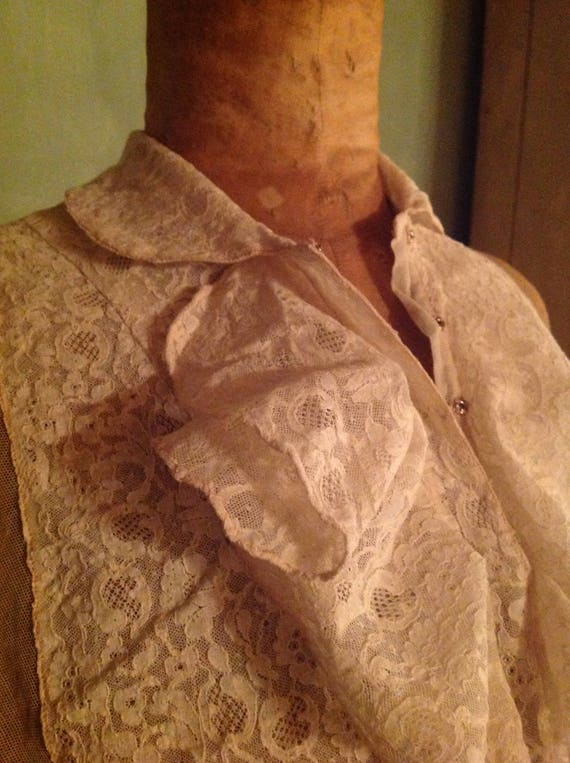 antique tulle lace dicky blouse 1900s edwardian