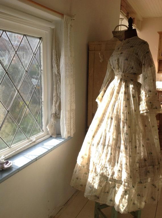 antique cotton print dress, civil war dress 1870s - image 4