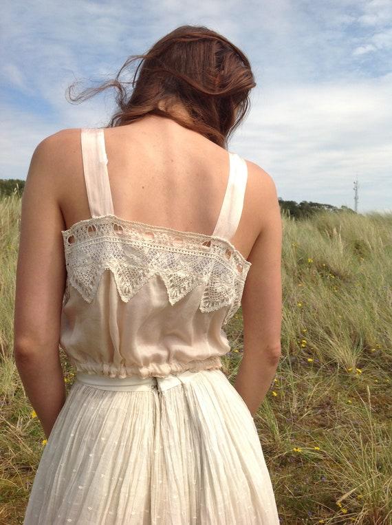 nude ,silk and lace camisole, edwardian - image 2