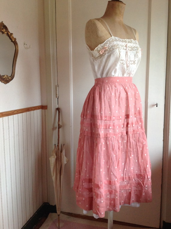 antique edwardian victorian calico skirt and petti