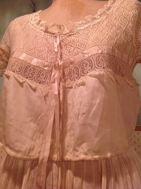 beautiful antique edwardian silk and lace camisol… - image 3