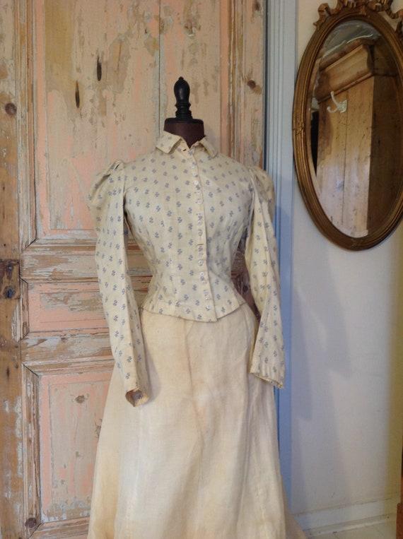 antique calico print blouse