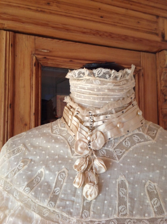 amazing antique victorian wedding dress 1890s 4PC - image 4