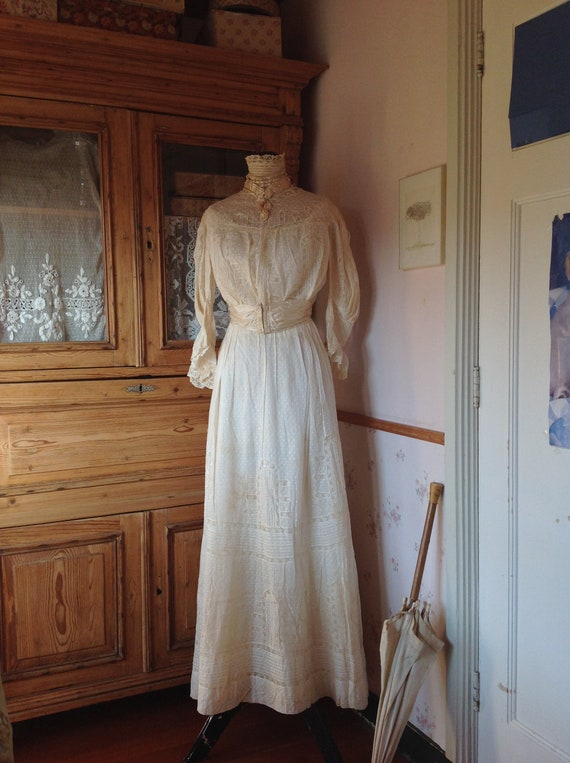 amazing antique victorian wedding dress 1890s 4PC - image 9