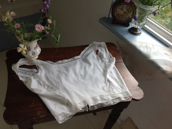 antique sheer cotton and lace camisole LARGE - image 7
