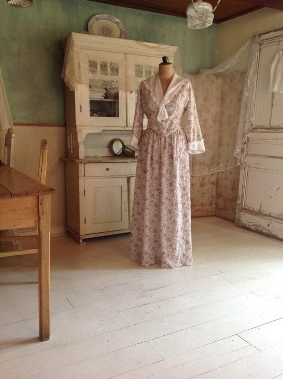 antique edwardian floral cotton print 2PC day dres