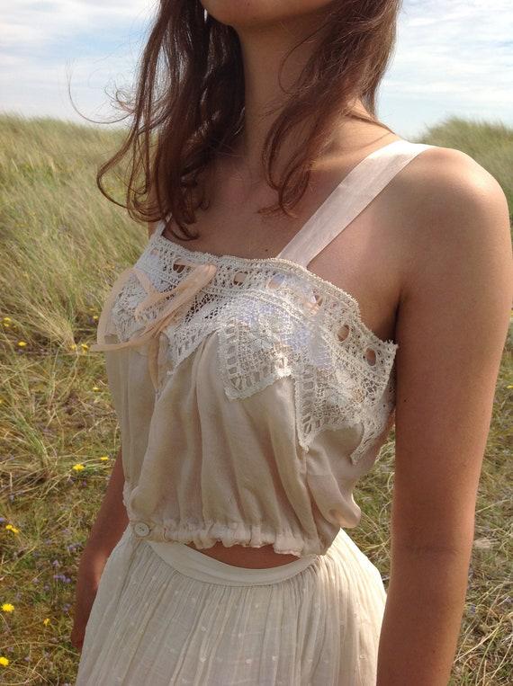 nude ,silk and lace camisole, edwardian - image 10