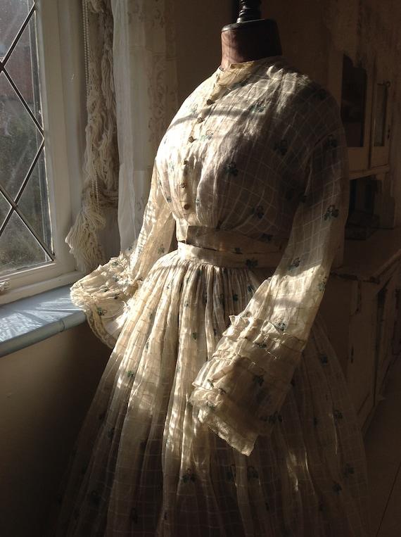 antique cotton print dress, civil war dress 1870s - image 9