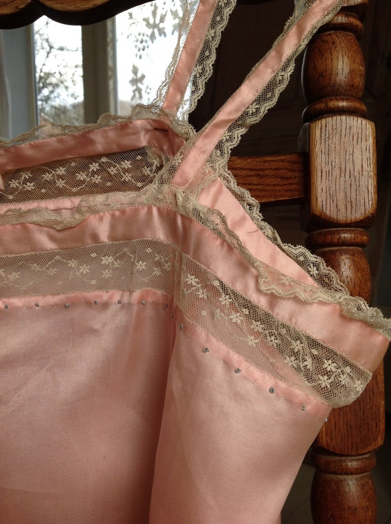choral pink camisole silk and lace edwardian 1920… - image 10