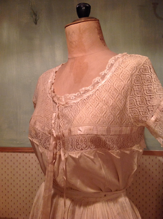 beautiful antique edwardian silk and lace camisol… - image 4
