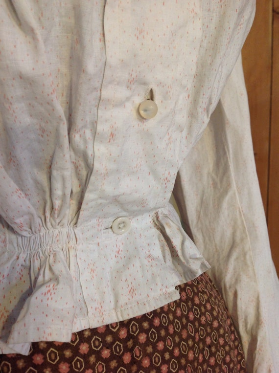 1890s calico print linen blouse victorian period