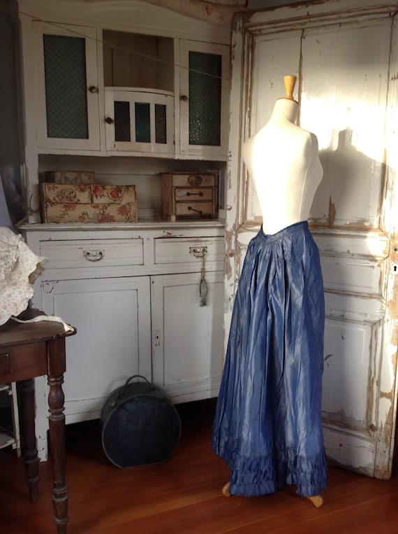 beautiful silk blue skirt, late victorian