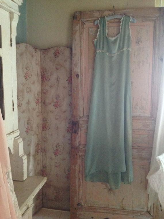 antique sea green silk victorian high waist slip d