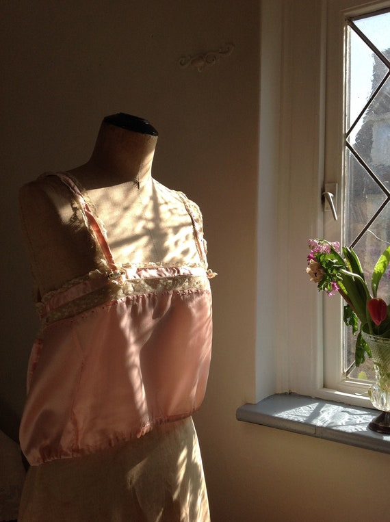 choral pink camisole silk and lace edwardian 1920s