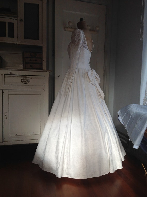 vintage Laura Ashley wedding dress with hoop skirt