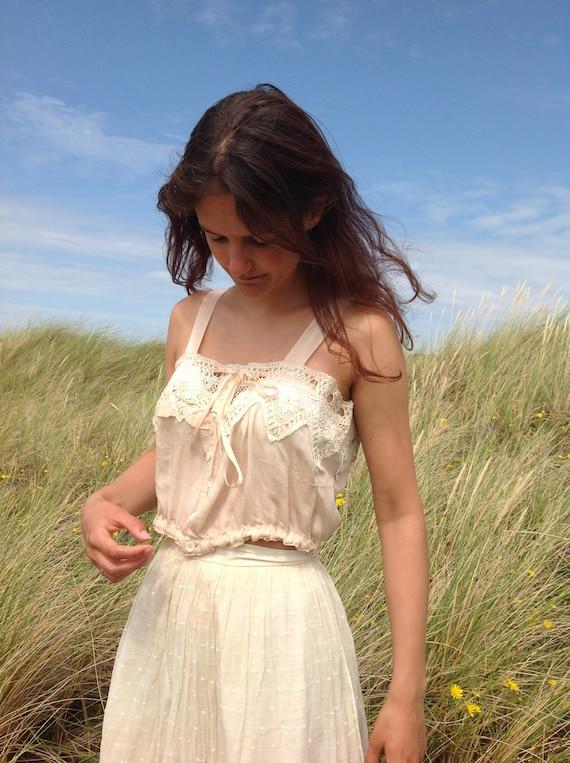 nude ,silk and lace camisole, edwardian - image 8