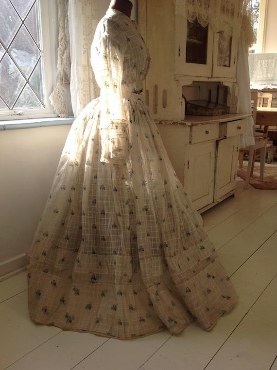 antique cotton print dress, civil war dress 1870s - image 5