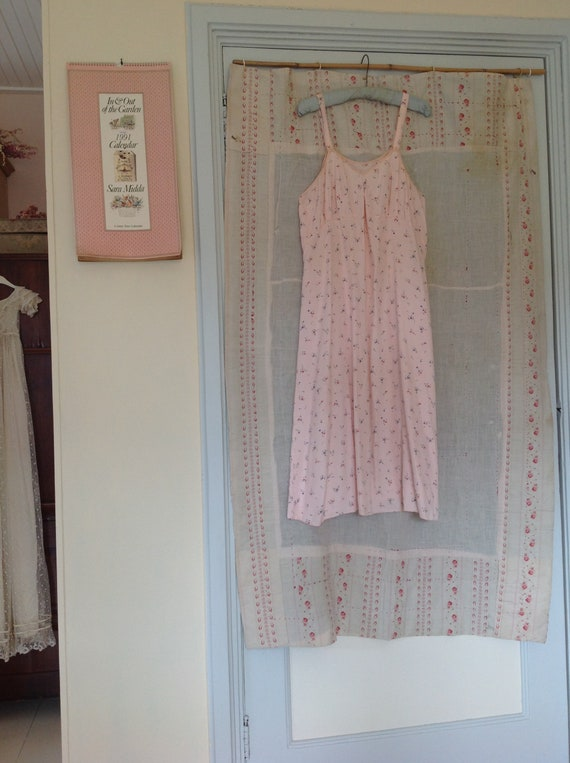 vintage floral slip dress, underdress night gown … - image 7