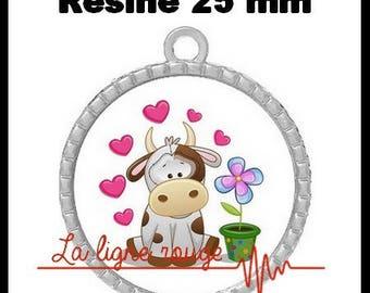 Round Cabochon 25 mm epoxy - cow love Pendant (2260) - farm animal, animal kids