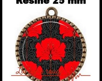 Bronze Cabochon pendant round 25 mm epoxy - Fleur Vintage (61) - floral, red, vintage, art nouveau