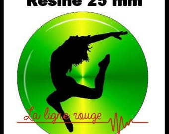 Round cabochon resin 25 mm - flash dance stick (1938) - dance, dancer