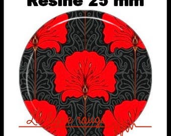 Round cabochon resin 25 mm - Fleur (61) Vintage - stick floral, red, vintage, art nouveau