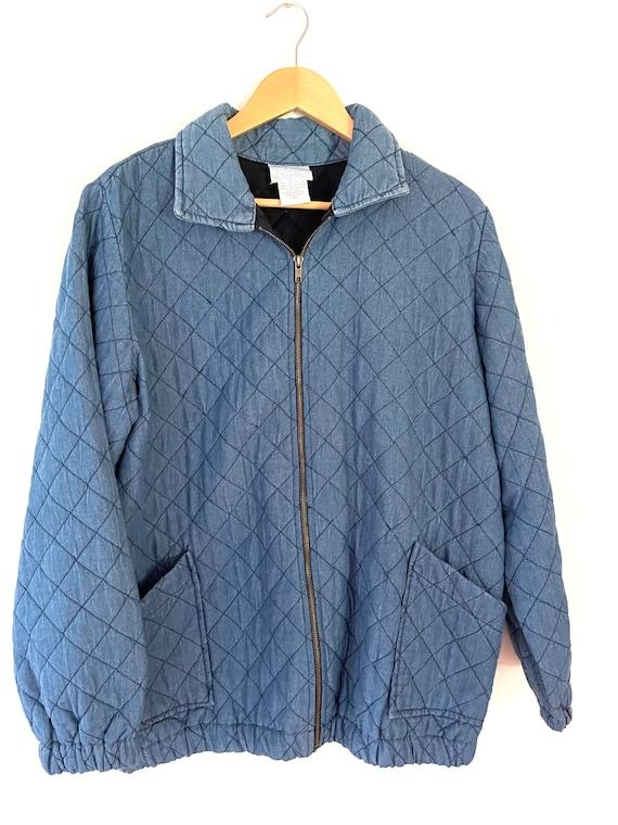 Vintage quilted denim jacket - image 1