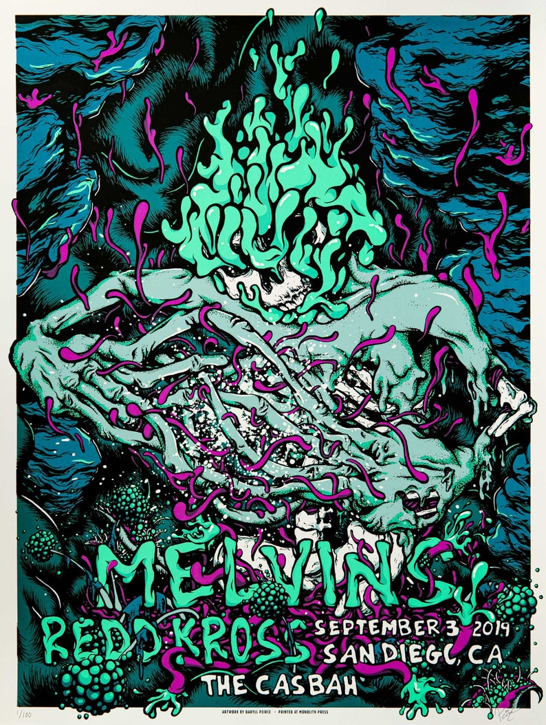 MELVINS / REDD KROSS  18x24 signed screenprint gig show image 0