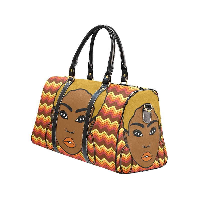 African Print Blonde Afro lady Large Travel Bag