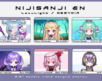"Nijisanji EN | LazuLight | OBSYDIA | vtuber double sided 2.5"" acrylic charms"