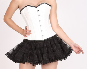 96149422075 Women s White Rice Leather Gothic Burlesque Bustier Waist Training Overbust  Corset Top   Black Tissue Tutu Skirt Halloween Party Dress