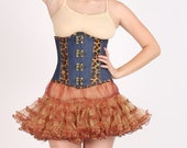 Women s Leopard Print Leather Blue Denim Gothic Steampunk Costume Underbust Waist Trainer Bustier Corset Top with Brown Tissue Tutu Skirt