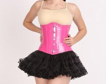 2d19fdc8bb4 Women s Pink Faux Leather Corset Dress  Gothic Burlesque Waist Training  Bustier Underbust Corset Top with Tissue Tutu Skirt