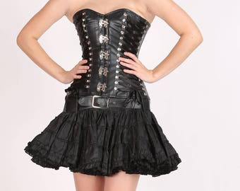 200a5e3a20c Black Faux Leather Seal Lock Gothic Steampunk Waist Training Bustier  Overbust Corset Top and Poly tissue Tutu Skirt Halloween Party Dress