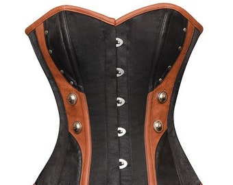 618df38068c Women s Black Satin Brown Leather Gothic Halloween Party Prom Costume  Steampunk Bustier Waist Shaper Corset Top