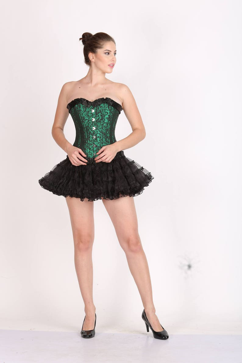 44f602da3ed Womens Green Black Brocade Corset with Frills Double Bone