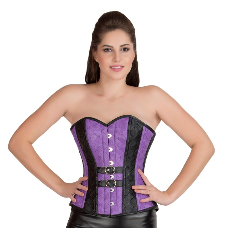 d8275f3593c Purple   Black Faux Leather Corset  Belt Gothic Steampunk