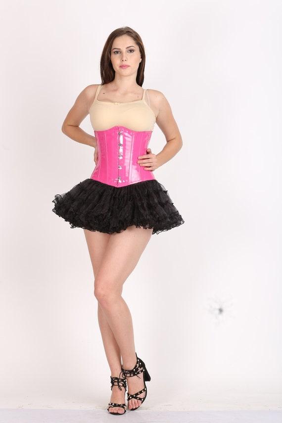 9259ea7c06a Womens Pink Faux Leather Corset Dress  Gothic Burlesque Waist