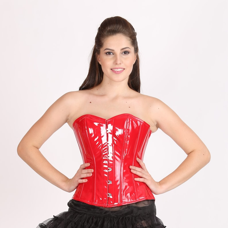 453b6c21029 Red PVC Leather Gothic Steampunk Waist Training Bustier