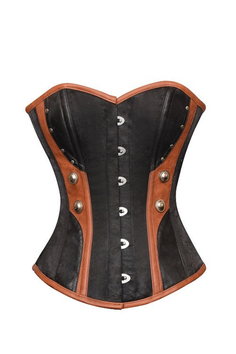 780b2f0b6 Womens Black Satin Brown Leather Gothic Halloween Party Prom