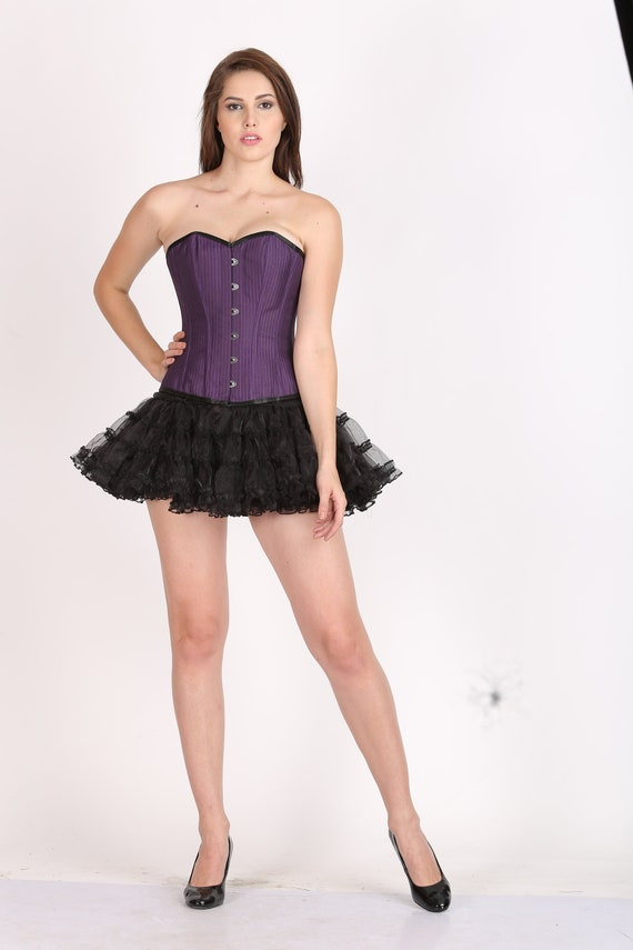 e18eb049793 Women s Purple Cotton Black Satin Piping Gothic Burlesque Bustier Waist  Training Overbust Top   Tissue Tutu Skirt Halloween Party Costume